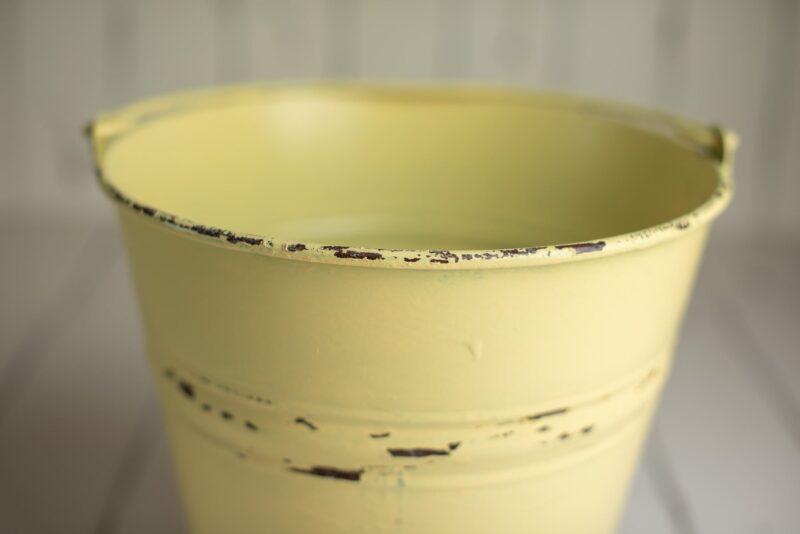 newborn photo props - yellow bucket